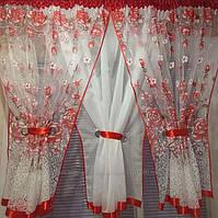Комплект готовий тюль арка для кухні червона 4м*1.5 м