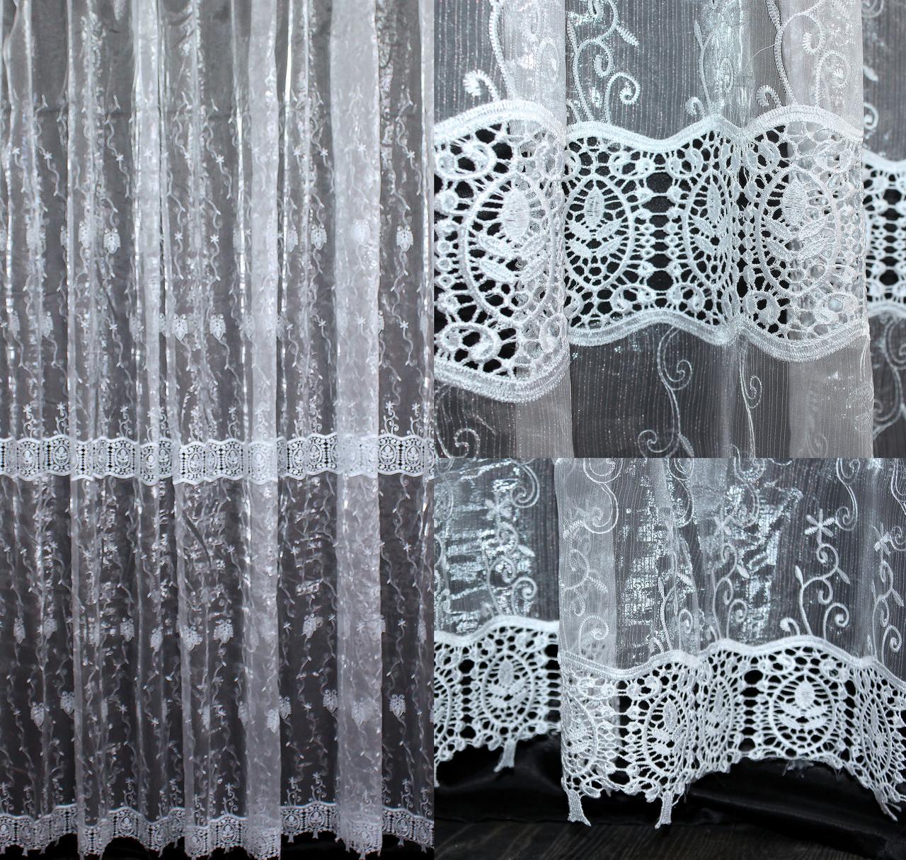 "Нарядная тюль, гардина из ткани  ""Кристалон"". (3х2,5м.), Код 555т 40-201"