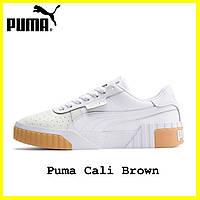 Женские кроссовки Puma Cali Brown (пума кали коричневые) кожаные кеды 36, 37, 38, 39, 40, 41