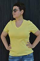 Футболка женская желтая однотонная