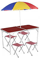 🔝 Складной стол для пикника + 4 стула, Folding table, красное дерево, алюминиевый расскладной столик   🎁%🚚