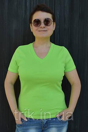 Футболка женская зеленая однотонная, фото 2
