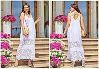 Красивый женский сарафан с вставками гипюра супербатал белый