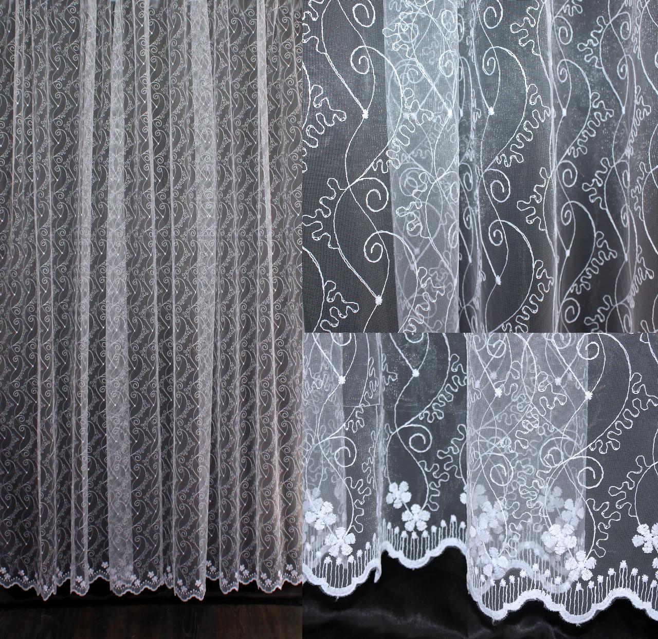 Гардина (3*2,5м) фатин с вышивкой. Цвет белый. Код 542т 40-210