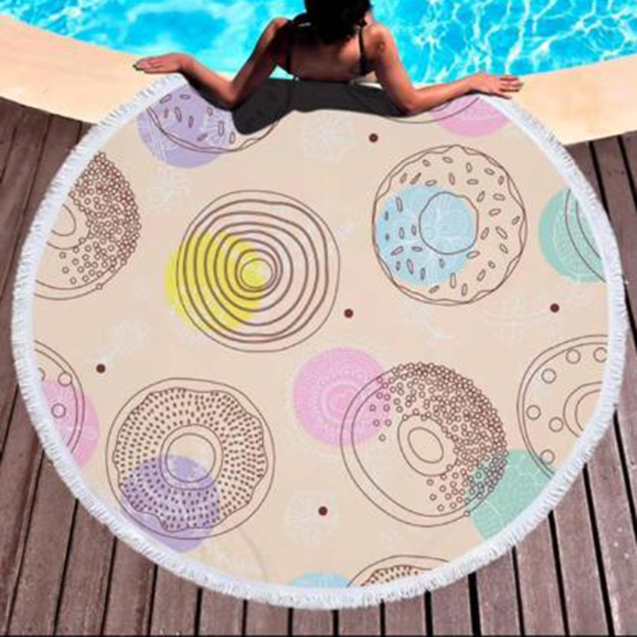 "Пляжное полотенце круглое, коврик с бахрамой ""Беж""  150см"