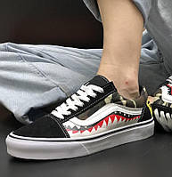 Мужские кеды Vans Ванс Old Skool X Bape Custom лето-весна-осень. Живое фото. Репли
