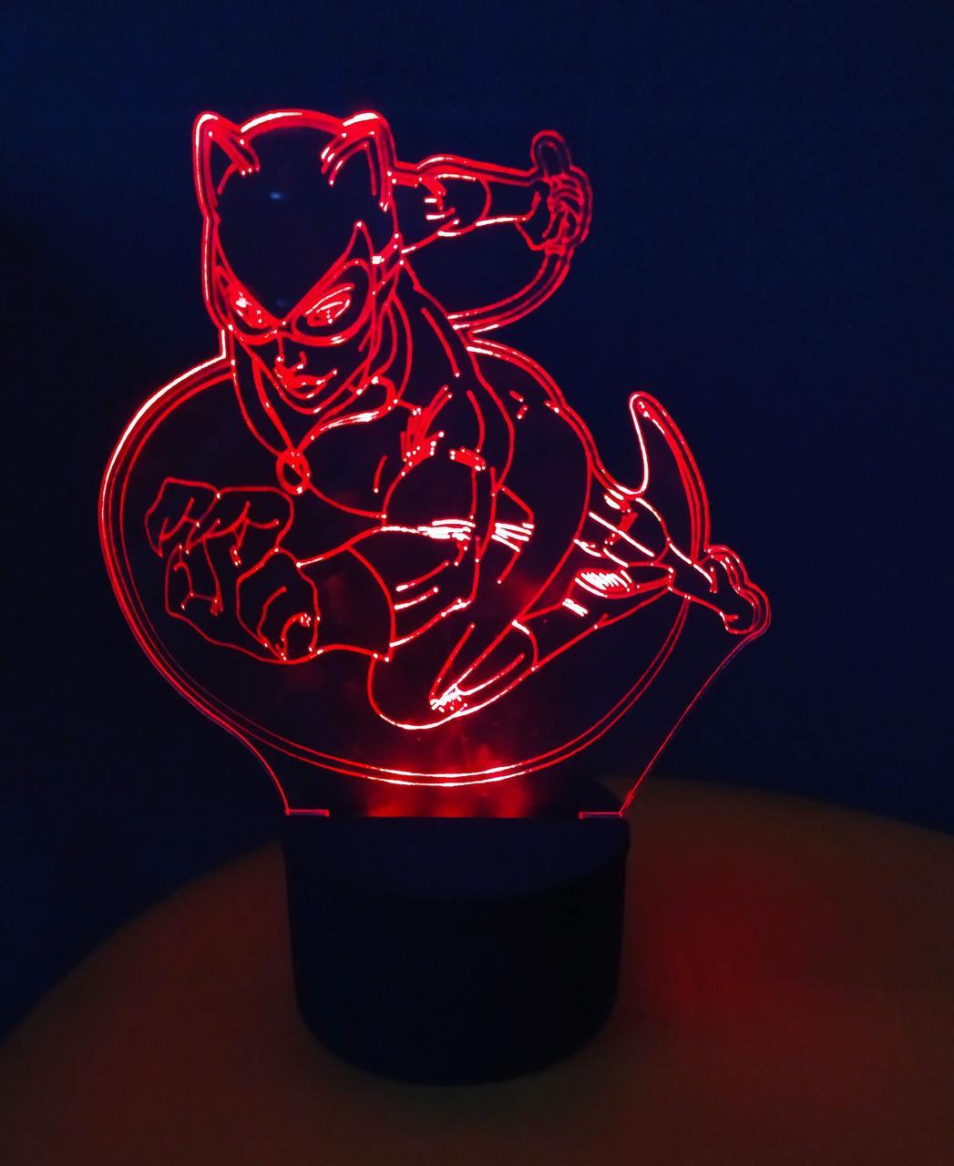 3d-светильник Женщина-кошка, Catwoman, 3д-ночник, несколько подсветок (батарейка+220В))