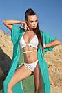 Туника пляжная длинная шифоновая бирюзовая с люрексом, фото 2
