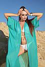 Пляжная туника длинная шифоновая женская бирюзовая с люрексом, фото 4