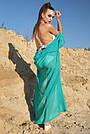 Пляжная туника длинная шифоновая женская бирюзовая с люрексом, фото 5