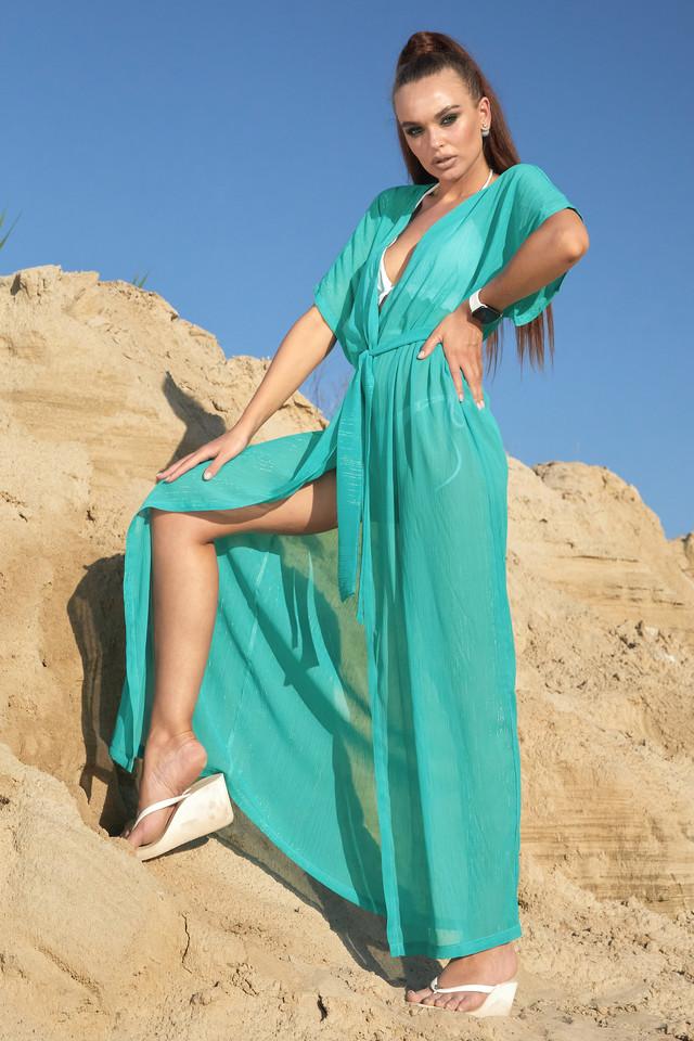 Пляжная туника длинная шифоновая женская бирюзовая с люрексом