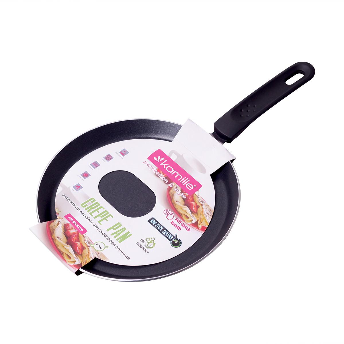 Сковорода блинная Kamille 24см с антипригарным покрытием (индукция) KM-0608IND