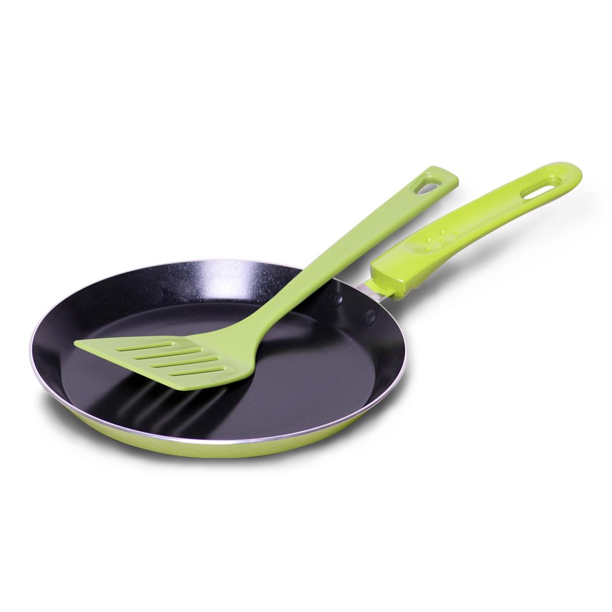 Сковорода блинная Kamille 22см с керамическим покрытием и лопаткой