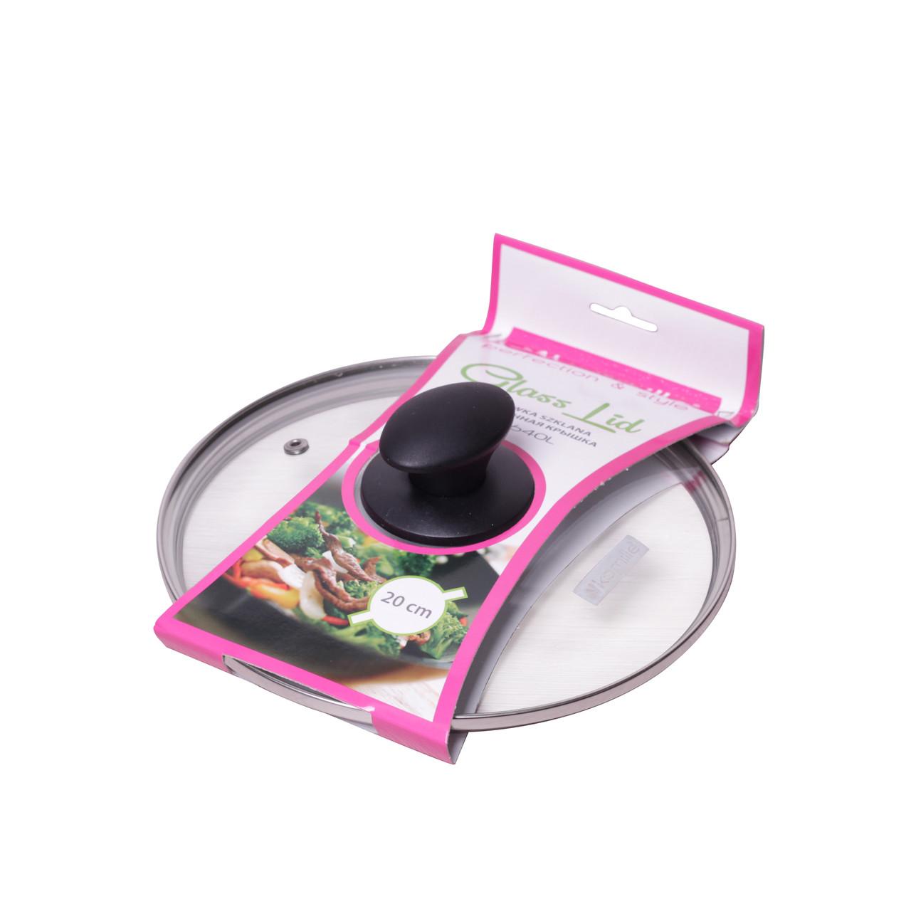 Крышка стеклянная Kamille 20см с металлическим ободком KM-0640L