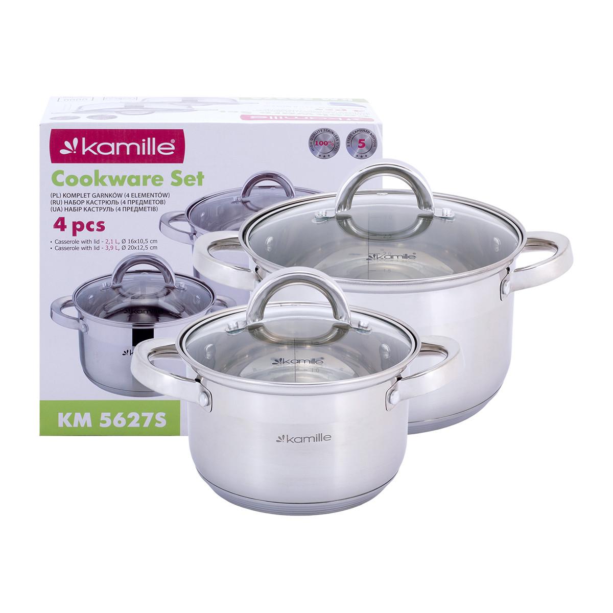 Набор кастрюль Kamille посуда  из нержавеющей стали 4 предметов для приготовления пищи KM-5627S