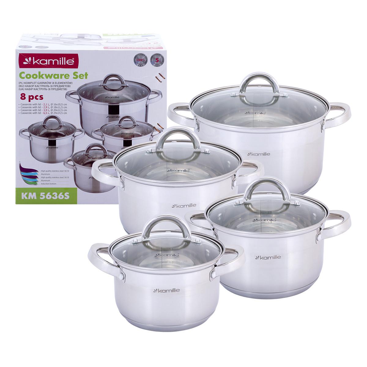 Набор кастрюль Kamille 8 предметов из нержавеющей стали посуда для приготовления пищи KM-5636S