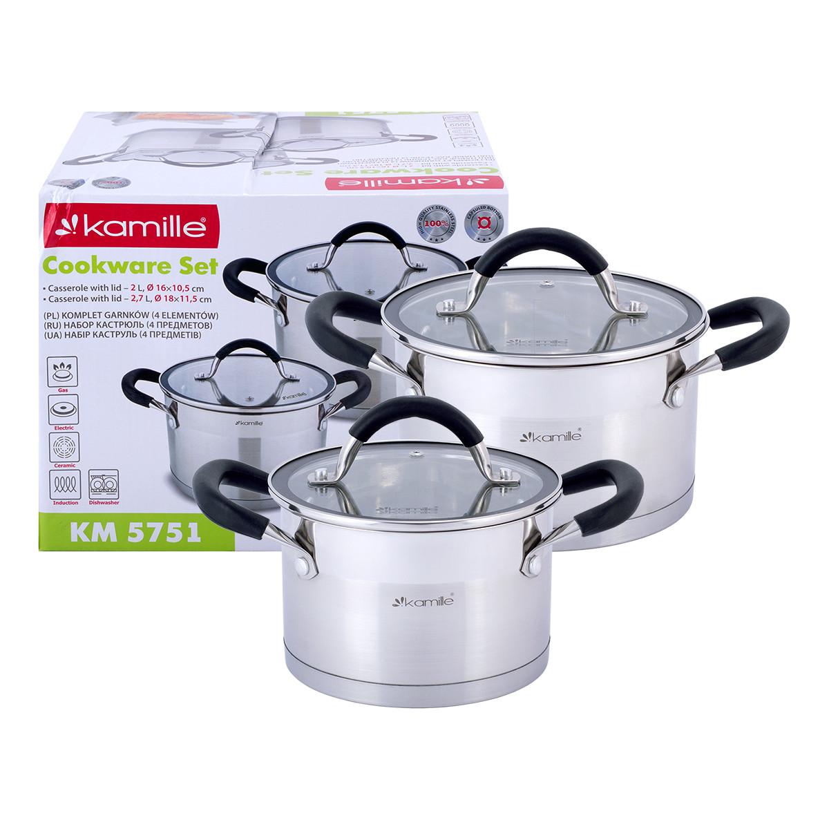 Набор  кастрюль Kamille посуда из нержавеющей стали для газа 4 предмета для приготовления пищи для индукции и газа KM-5751