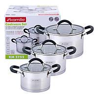 Набор кастрюль Kamille посуда из нержавеющей стали для газа 6 предметов для приготовления пищи для индукции