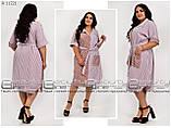Удобное лёгкое повседневное платье-рубашка для полных женщин, размер 52-54\56-58\60-62\64-66, фото 6