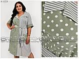 Удобное лёгкое повседневное платье-рубашка для полных женщин, размер 52-54\56-58\60-62\64-66, фото 4