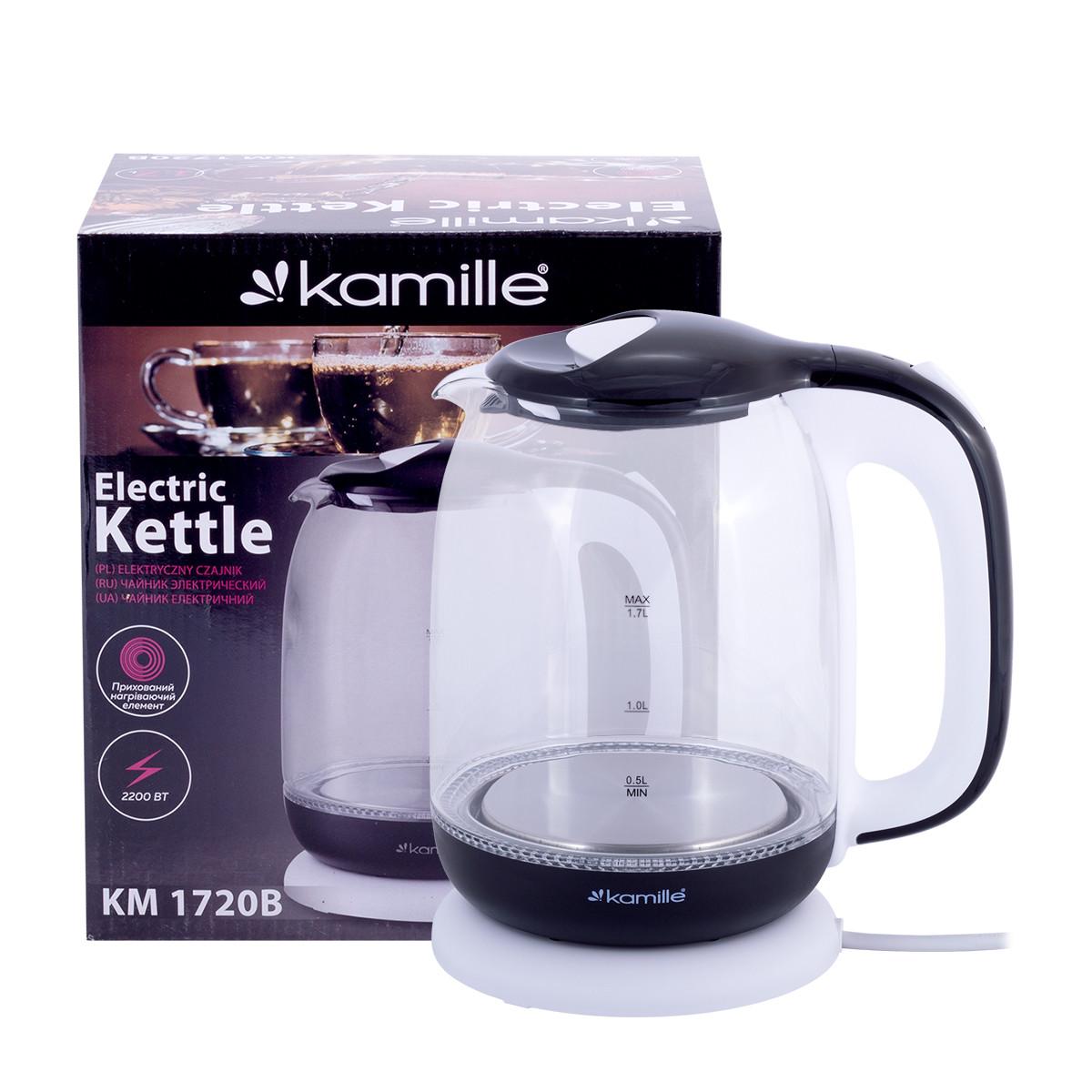 Чайник 1,7 л електричний Kamille з боросилікатного скла