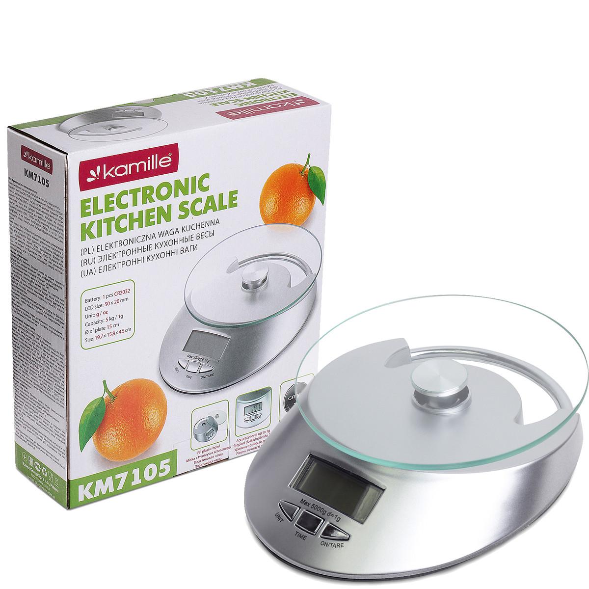 Ваги електронні кухонні Kamille 19,5*22,7*7 см