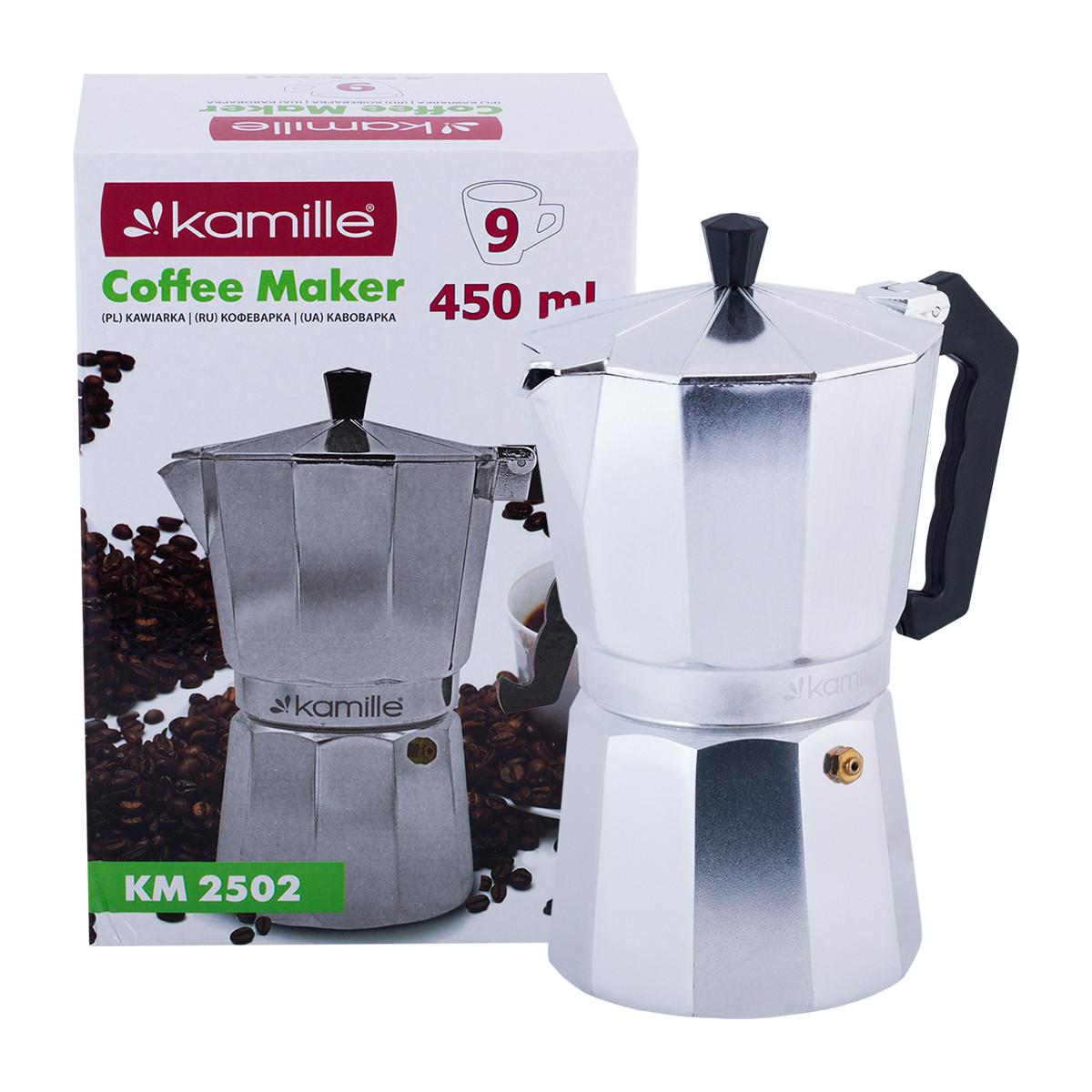 Кофеварка гейзерная Kamille 450мл из алюминия KM-2502