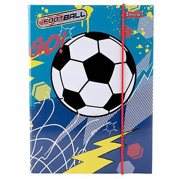 Школьная папка для тетрадей картонная В5 1Вересня Team football 24х18см Синяя (491890)