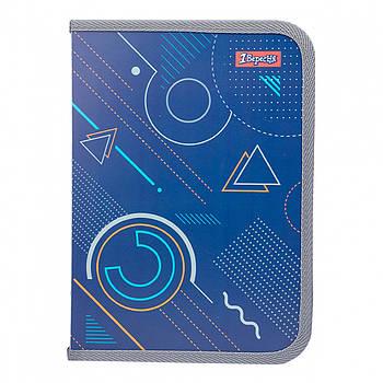 Школьная папка для тетрадей пластиковая на молнии 1Вересня на молнии В5 Geometry 27х19см Синий (491844)