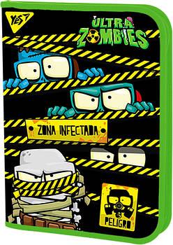 Школьная пластиковая папка-портфель на молнии YES FC Zombie 24х34см Зеленая (491802)