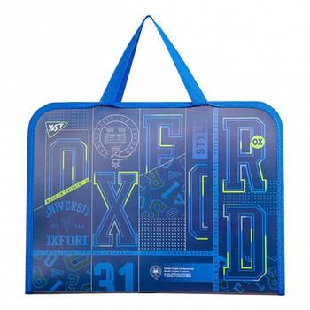 Шкільна папка-портфель на блискавці з тканинними ручками YES Oxford 26х35см Синя (491793)