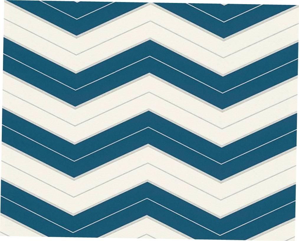 Моющиеся обои зигзаг, с темно синей горизонтальной полосой 324424 виниловые горизонтальные зигзаги
