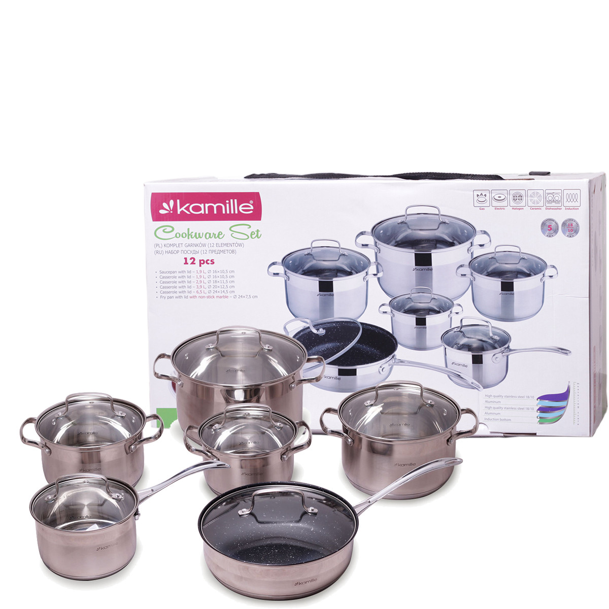 Набор посуды Kamille из нержавеющей стали 12 предметов KM-4007SKER
