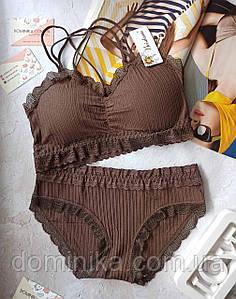 Набор женского нижнего белья топ с трусиками , на s/m коричневый цвет