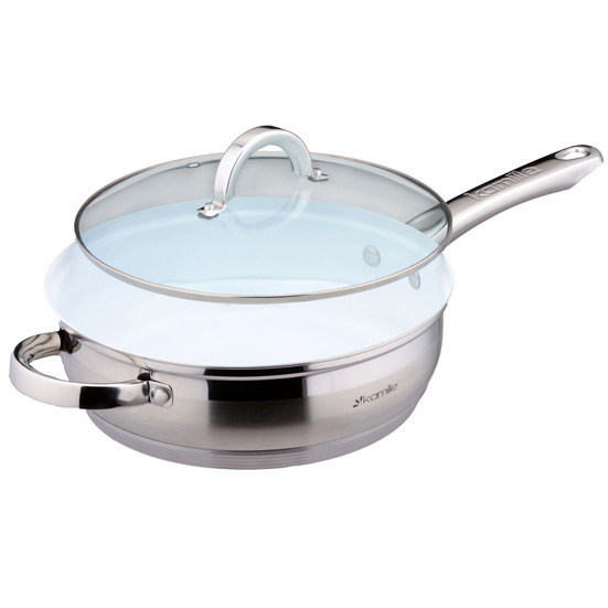 Сковорода Kamille 24см из нержавеющей стали с керамическим покрытием и крышкой