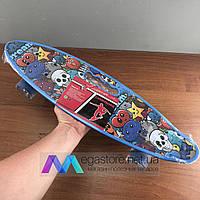 Скейтборд пенни борд детский для девочек мальчиков с ручкой начинающих со светящимися колесами penny board