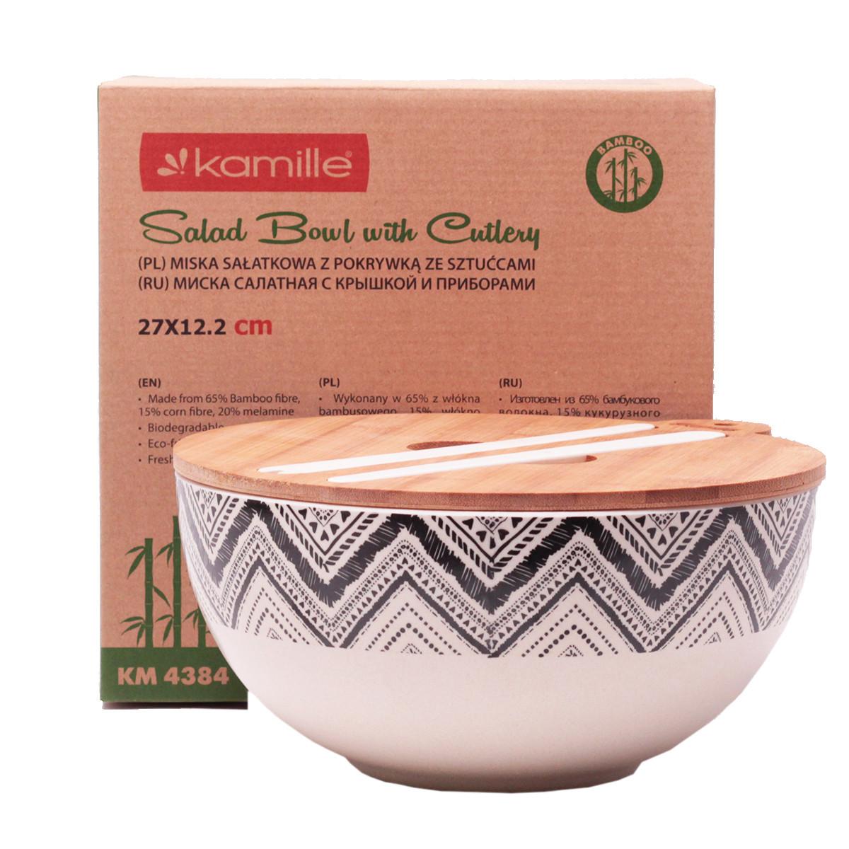 Миска Kamille Ø27*12.2 см из бамбукового волокна с бамбуковой крышкой и приборами KM-4384