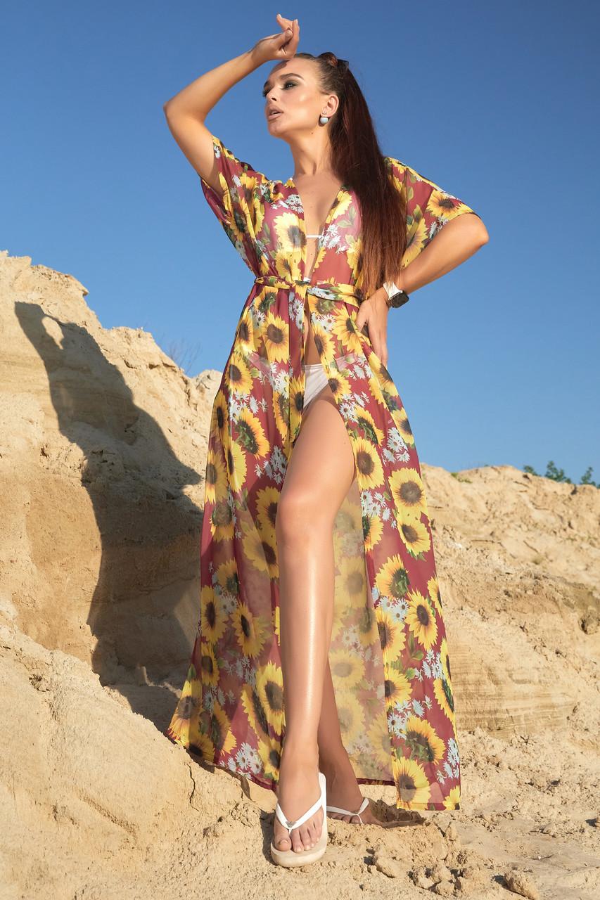Туника длинная пляжная шифон марсала с цветами