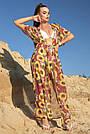 Туника длинная пляжная шифон марсала с цветами, фото 3