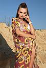 Туника длинная пляжная шифон марсала с цветами, фото 5