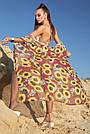 Туника длинная пляжная шифон марсала с цветами, фото 6
