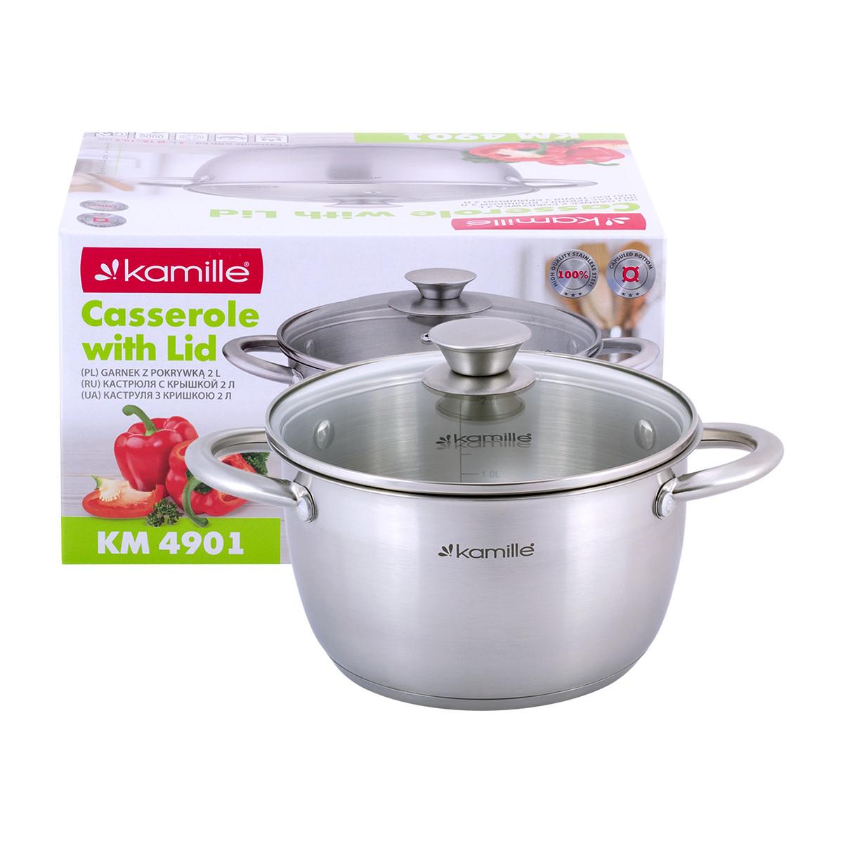 Кастрюля Kamille посуда из нержавеющей стали для газа 2 предмета для приготовления пищи для индукции и газа KM-4901