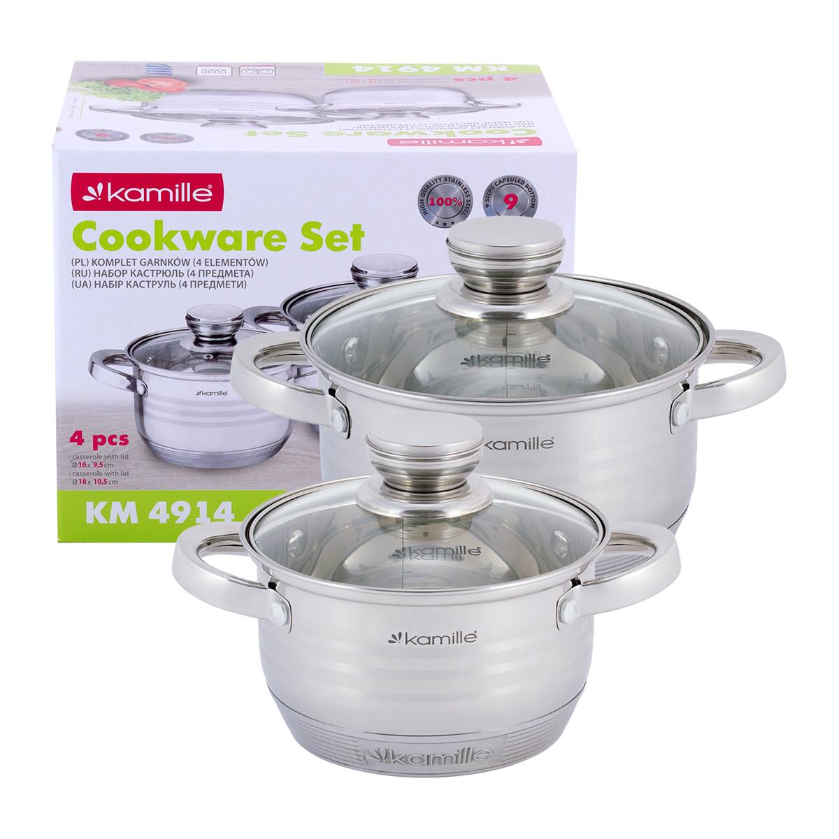 Набір каструль Kamille посуд з нержавіючої сталі для газу 4 предмета для приготування їжі для індукції