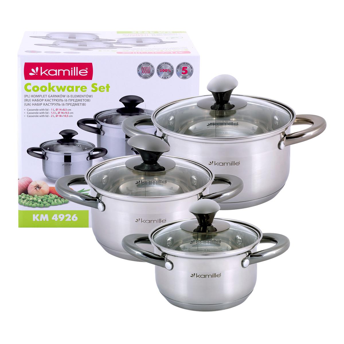 Набор  кастрюль Kamille посуда из нержавеющей стали для газа 6 предметов для приготовления пищи для индукции и газа KM-4926