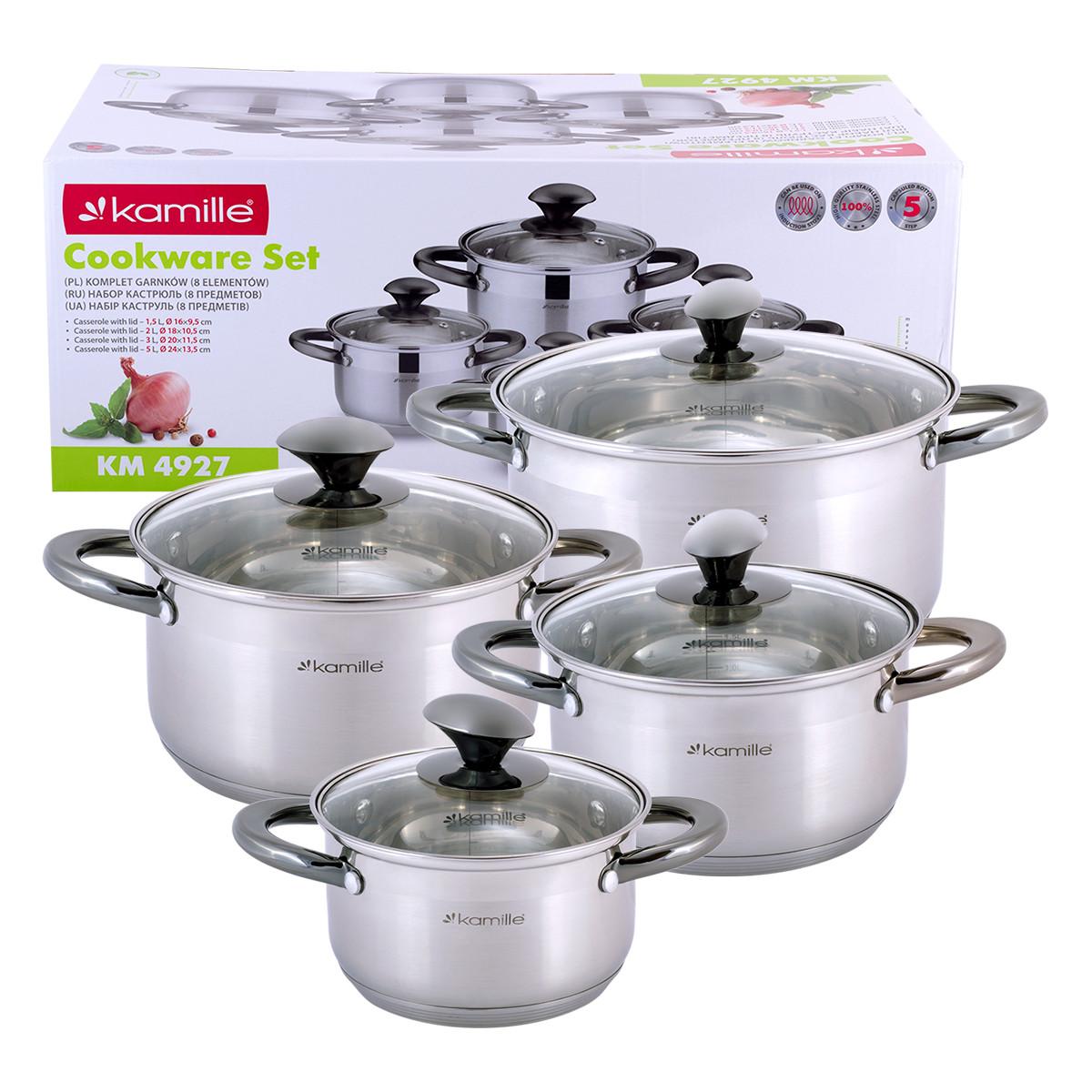 Набір каструль Kamille посуд з нержавіючої сталі для газу 8 предметів для приготування їжі для індукції