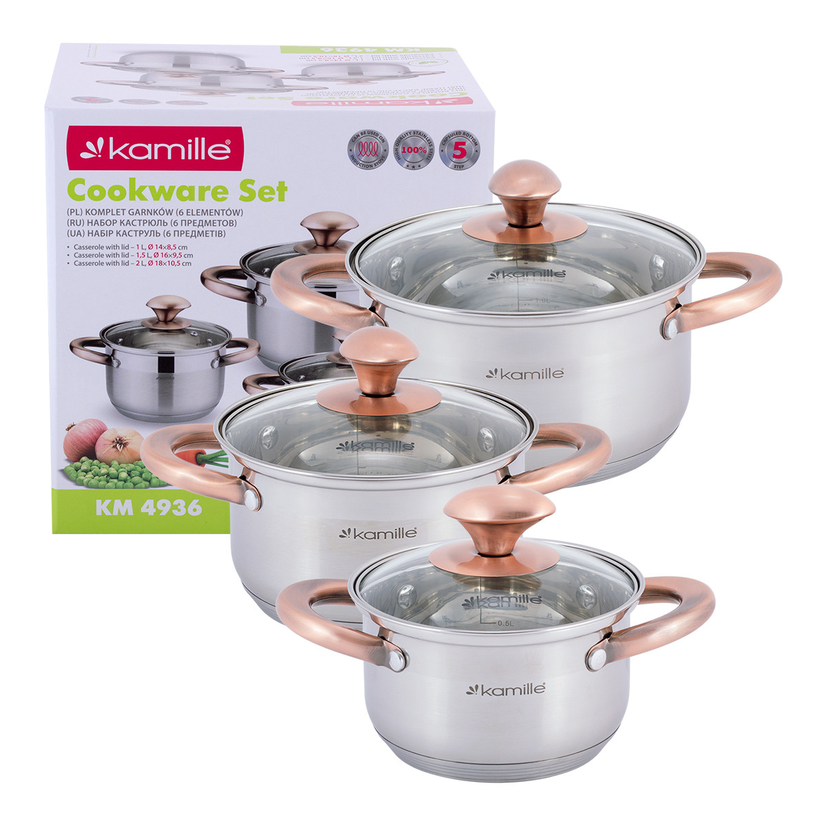 Набор  кастрюль Kamille посуда из нержавеющей стали для газа 6 предметов для приготовления пищи для индукции и газа KM-4936
