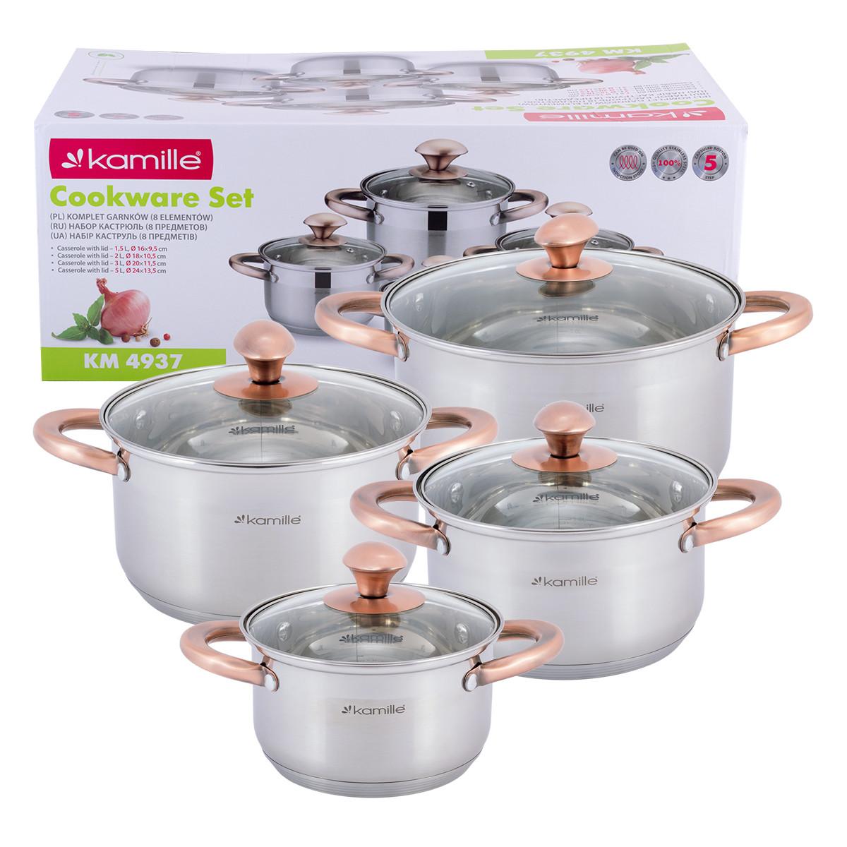 Набір каструль Kamille посуд з нержавіючої сталі для газу 8 предметів для приготування їжі для індукції і газу