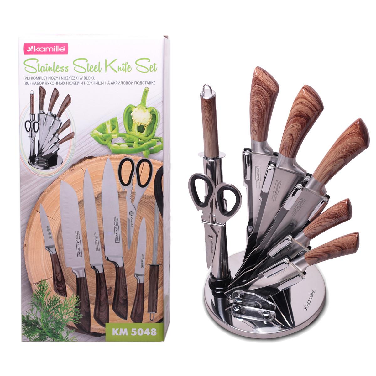 Набор кухонных ножей, ножницы и точилка Kamille  8 предметов на акриловой подставке KM-5048