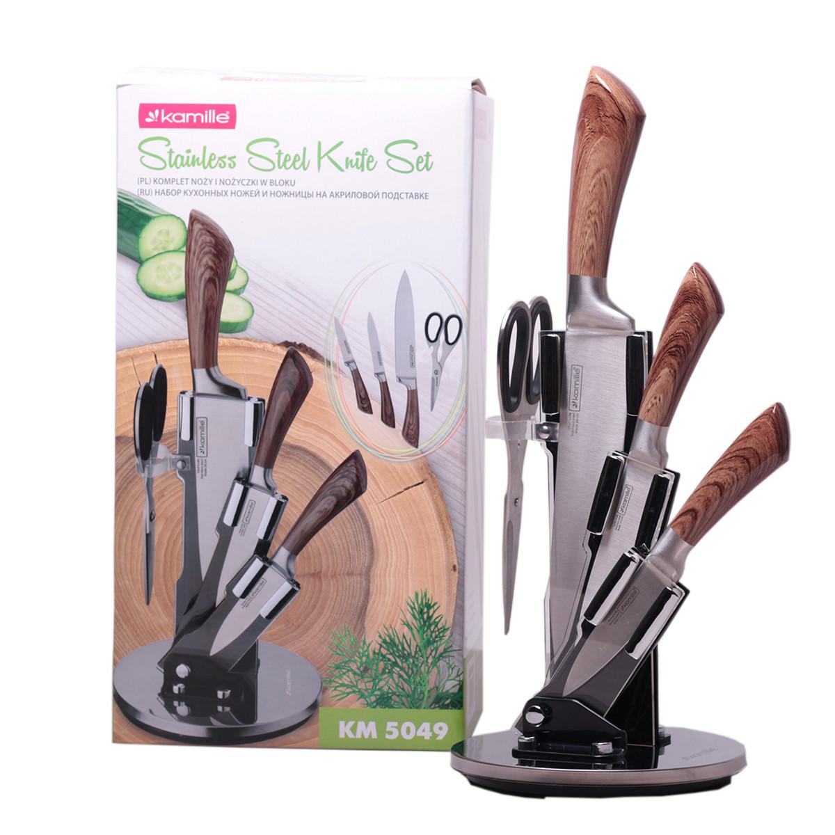 Набір кухонних ножів і ножиці Kamille 5 предметів на акриловій підставці KM-5049