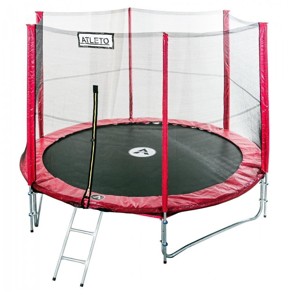 Батут спортивный Atleto 404см двойные ноги сетка для прыжков и фитнеса красный (высота 260 см лестница)